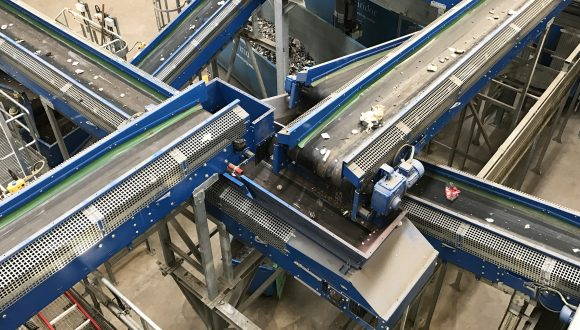 conveyors in waste processing system