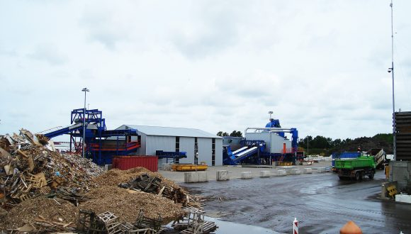 wood waste processing installation