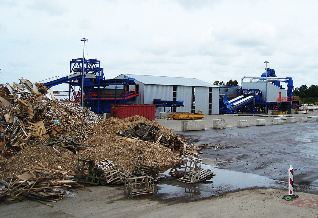 wood waste processing installation