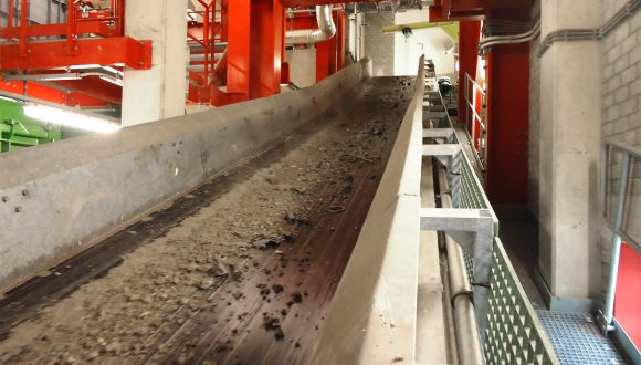 bottom ash processing belt conveyor
